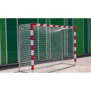 Juego portería fútbol sala balonmano trasladable con base tubo redondo aluminio