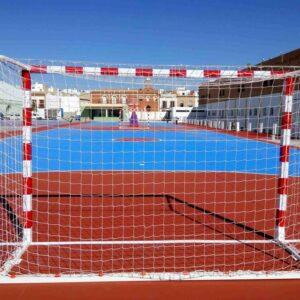 Juego portería fútbol sala balonmano trasladable con base tubo cuadrada 80×40 metálica